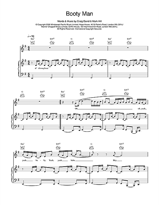 Booty Man Sheet Music