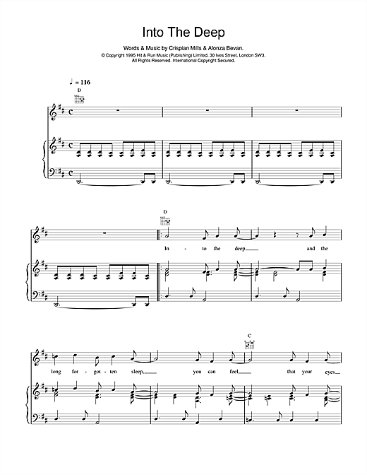 Into The Deep (Piano, Vocal & Guitar (Right-Hand Melody))