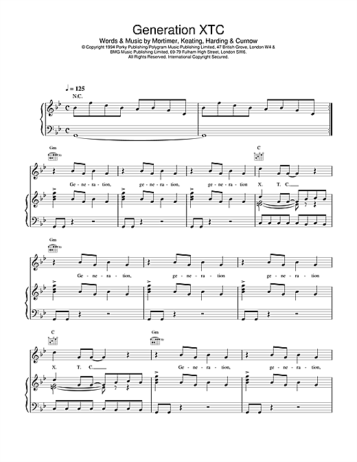 Generation XTC Sheet Music