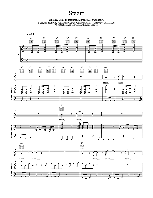 Steam Sheet Music