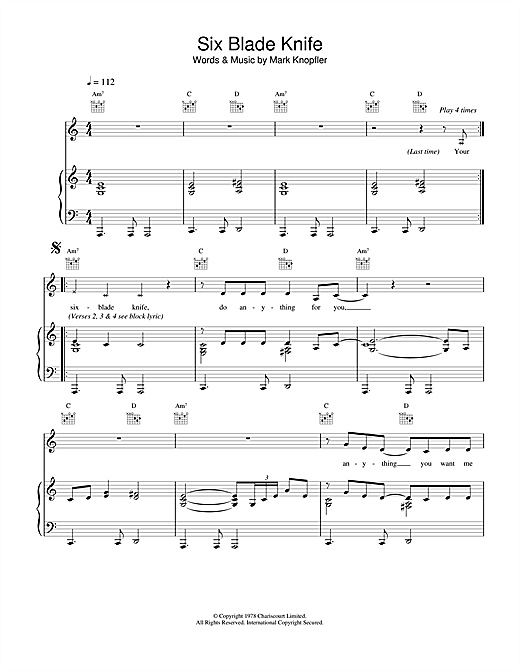 Six Blade Knife Sheet Music