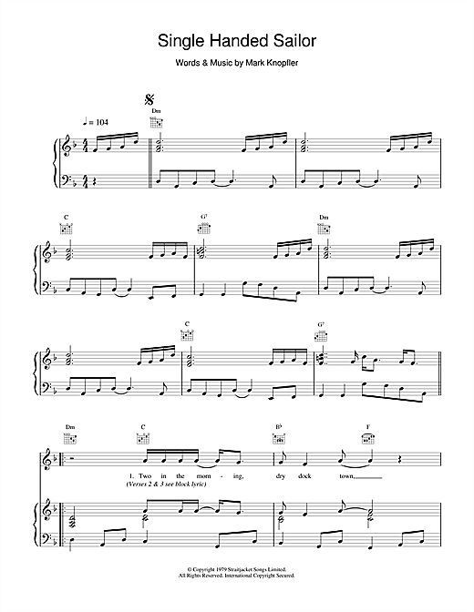 Single Handed Sailor Sheet Music