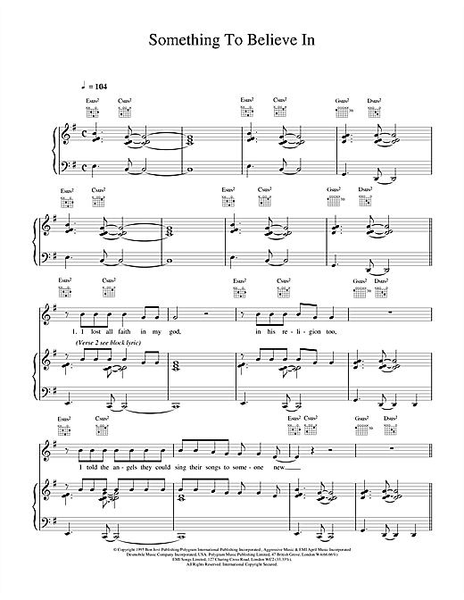 Something To Believe In Sheet Music