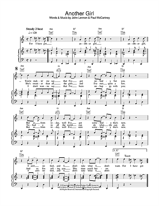 Another Girl Sheet Music
