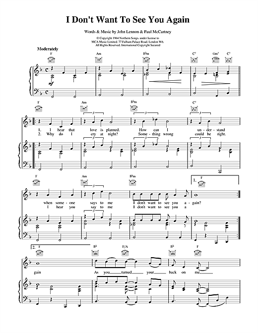 I Don't Want To See You Again Sheet Music