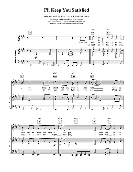 I'll Keep You Satisfied Sheet Music