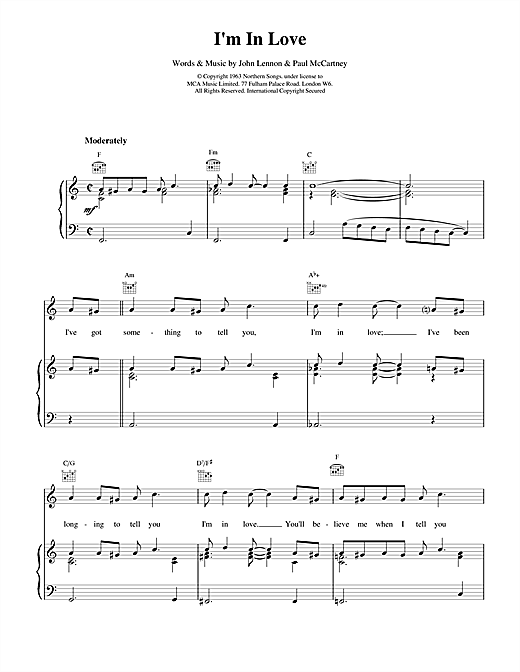 I'm In Love Sheet Music