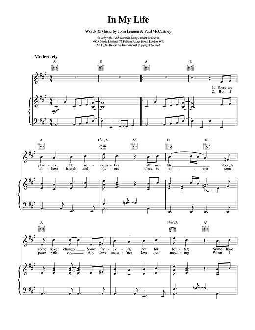 In My Life Sheet Music