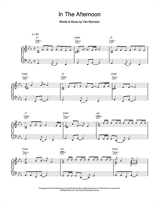 In The Afternoon (Piano, Vocal & Guitar (Right-Hand Melody))