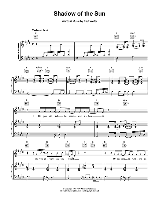 Shadow Of The Sun Sheet Music