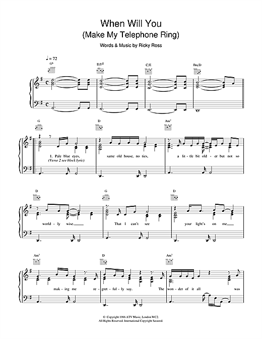 When Will You (Make My Telephone Ring) Sheet Music