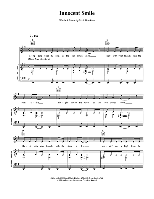 Innocent Smile Sheet Music
