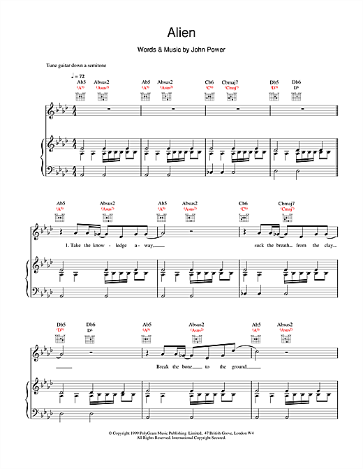 Partition piano Alien de Cast - Piano Voix Guitare