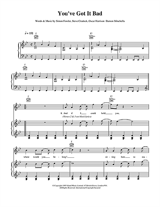 You've Got It Bad (Piano, Vocal & Guitar (Right-Hand Melody))