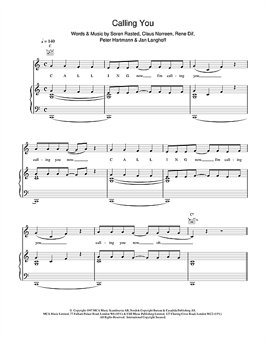Calling You Sheet Music