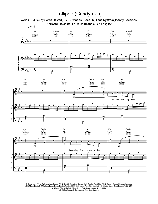 Lollipop (Candyman) Sheet Music