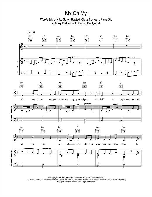 My Oh My Sheet Music