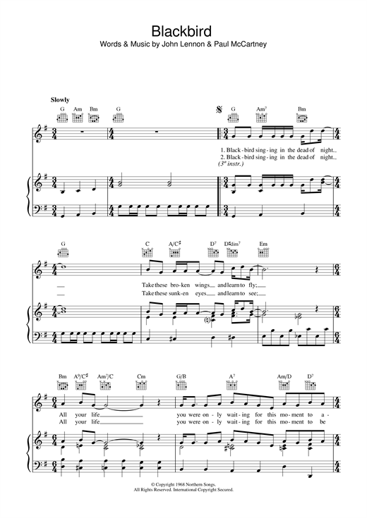 Blackbird piano sheet Music