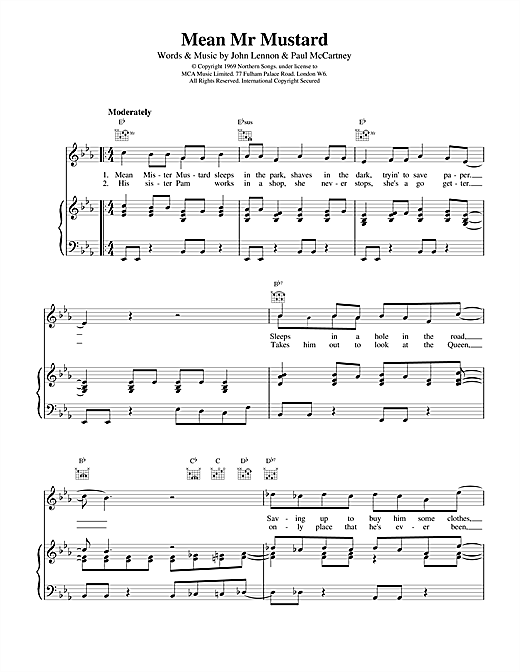 Mean Mr Mustard Sheet Music
