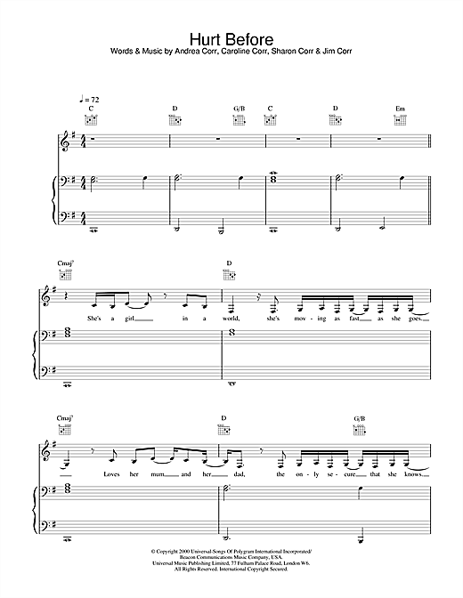 Hurt Before Sheet Music