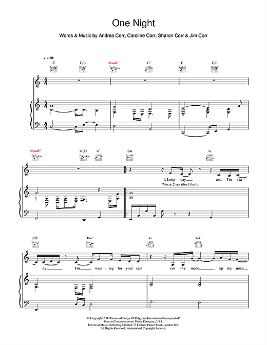 One Night Sheet Music