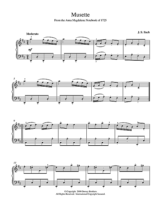 Musette In D Major, BWV App. 126 Sheet Music