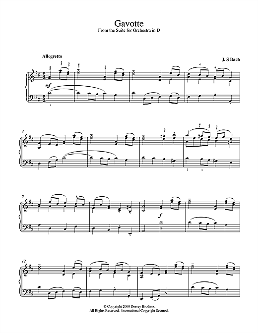 Gavotte (from the Suite for Orchestra in D) Sheet Music