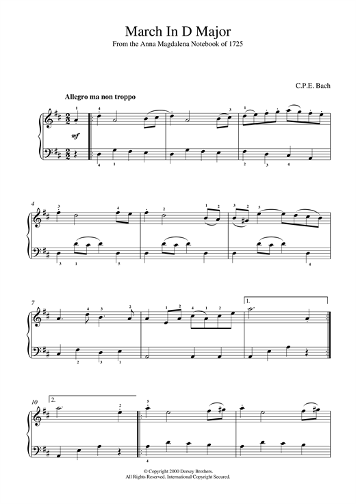 March In D Major, BWV App. 122 Sheet Music
