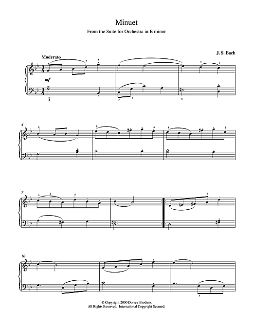 Minuet (from Orchestral Suite No. 2 in B Minor) Sheet Music