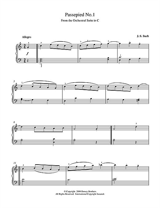 Partition piano Passepied No.1 de Johann Sebastian Bach - Piano Solo