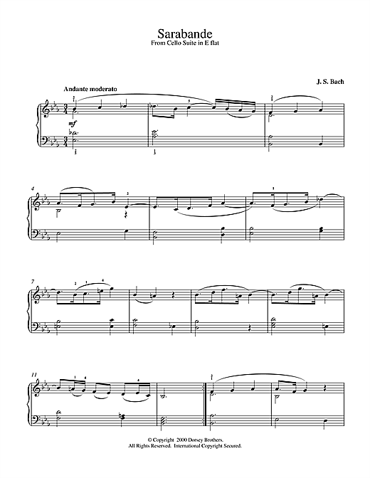 Partition piano Sarabande From French Suite No.1 de Johann Sebastian Bach - Piano Solo