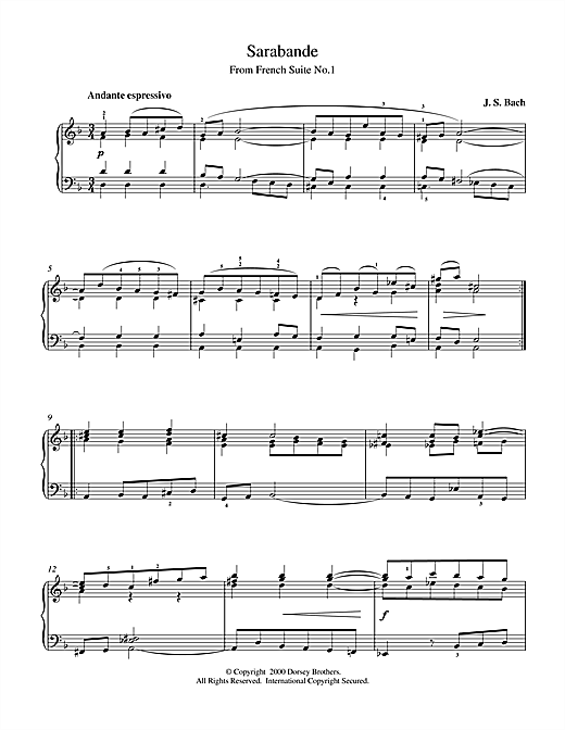 Sarabande From Cello Suite in E Flat Sheet Music