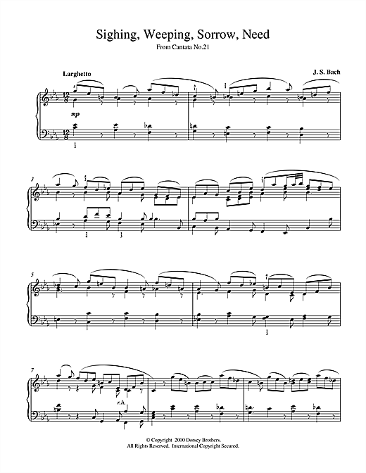 Partition piano Sighing, Weeping, Sorrow, Need de Johann Sebastian Bach - Piano Solo