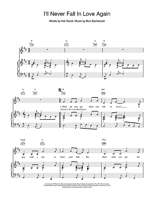 I'll Never Fall In Love Again Sheet Music