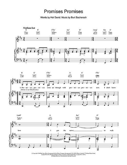 Promises, Promises (Piano, Vocal & Guitar (Right-Hand Melody))