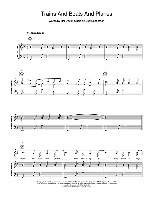 Trains And Boats And Planes Sheet Music