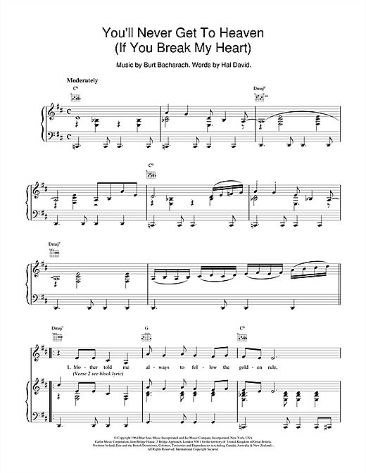 You'll Never Get To Heaven (If You Break My Heart) Sheet Music