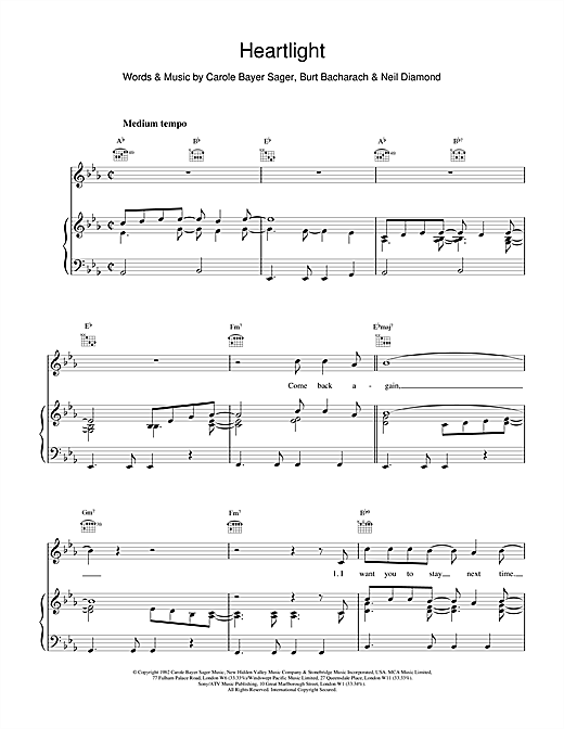 Heartlight Sheet Music
