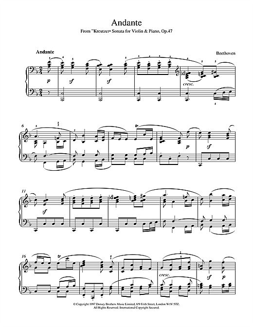 Andante from Violin Sonata No. 9 (Kreutzer) Sheet Music