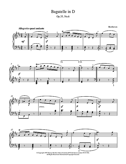 Partition piano Bagatelle in D Op.33 No.6 de Ludwig van Beethoven - Piano Solo