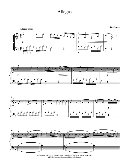 Allegro In F Sheet Music