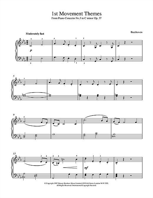Piano Concerto No.3 Op.37, 1st Movement Themes Sheet Music