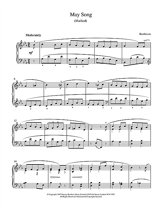 May Song Op.52, No.4 Sheet Music