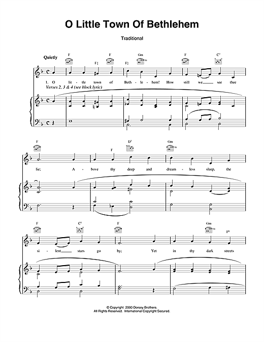 O Little Town Of Bethlehem (Piano, Vocal & Guitar (Right-Hand Melody))