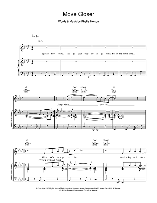 Move Closer Sheet Music