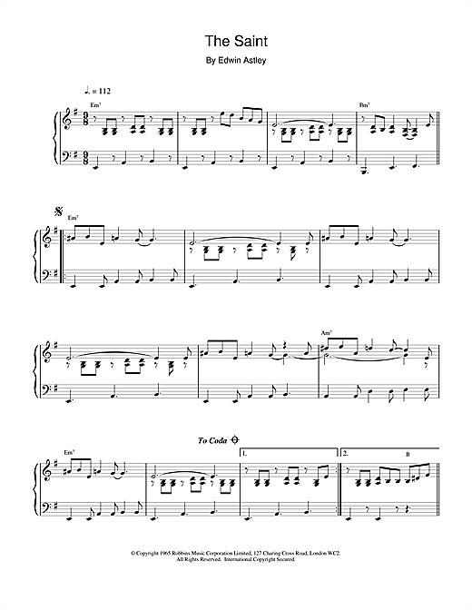 Partition piano The Saint de Edwin Astley - Piano Solo