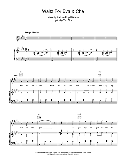Waltz For Eva & Che (from Evita) Sheet Music