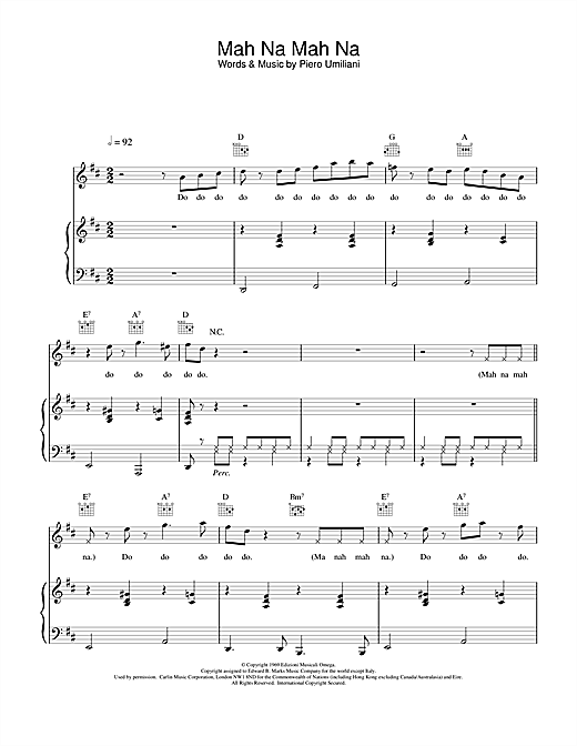 Mah Na Mah Na Sheet Music