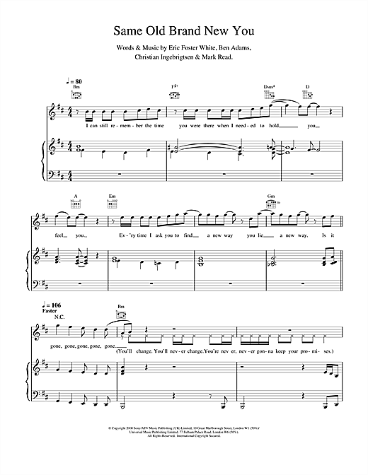 Same Old Brand New You Sheet Music