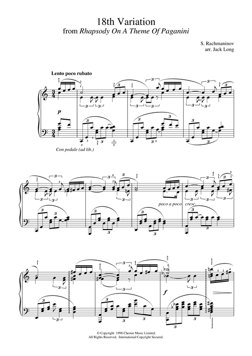 Partition piano 18th Variation de Sergei Rachmaninoff - Piano Solo